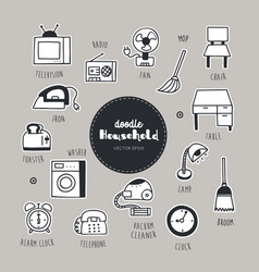 Household dessert hand drawn doodle icons set vector
