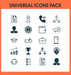 human icons set with curriculum vitae woman vector image