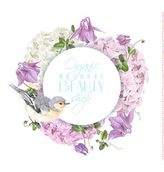 hydrangea bird round logo vector image