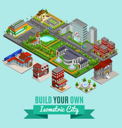 isometric city creation concept vector image
