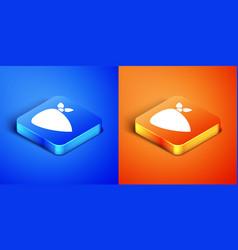 Isometric cowboy bandana icon isolated on blue and vector