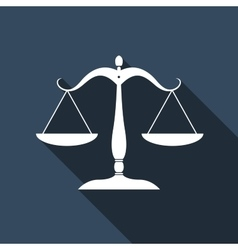 Justice scales silhouette icon with long shadow vector