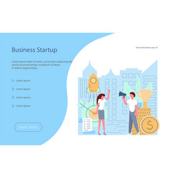 landing page template of investment start-up vector image