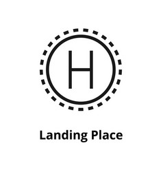 Landing place line icon vector