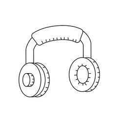 Line headphones to listen and play music vector