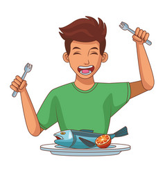 Man eating healthy food vector