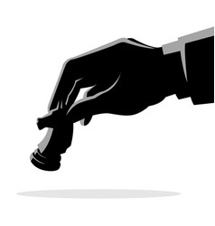 man hand holding chess knight piece vector image