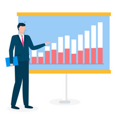 Manager standing near analytics chart on board vector