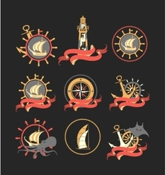 marine set badges vector image