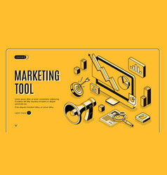 marketing e-commerce data analysis tool banner vector image