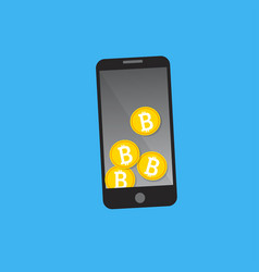 Mobile phone bitcoin payment concept vector