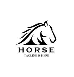 Monochrome emblem horse head on white vector