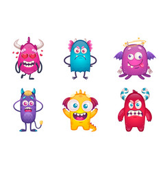 monsters emotions cartoon collection vector image