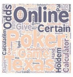 Online poker calculator text background wordcloud vector