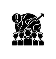 Overpopulation black glyph icon vector