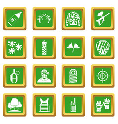 Paintball icons set green vector