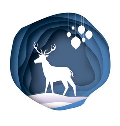 Paper cut deer in snowy cave merry christmas vector
