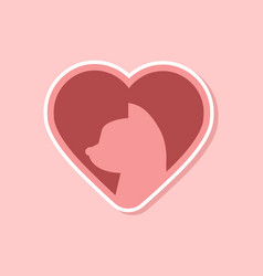 Paper sticker on stylish background cat heart vector