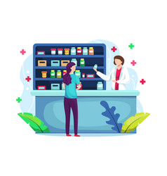 Pharmacist at counter in pharmacy vector