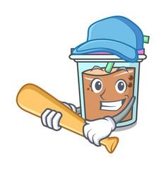 playing baseball bubble tea character cartoon vector image