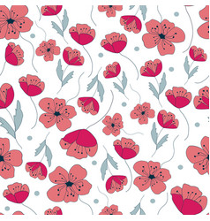 Poppies forever seamless repeat with poppy vector