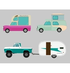 Retro car icon set Wagon trailer vector