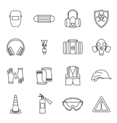 Safety icons set thin line style vector image