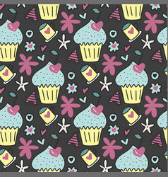 seamless pattern with cute cakes cherries vector image