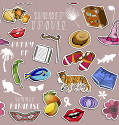 seamless pattern with stickers summer traveling vector image