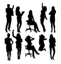 Secretary woman activity silhouettes vector