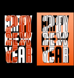 set 2021 happy new year orange and white ribbon vector image