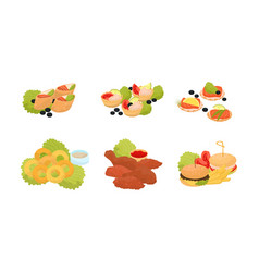 Set of catering snacks and apperizers on banquet vector