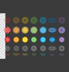 set of chakras - ayurveda hinduism yoga vector image