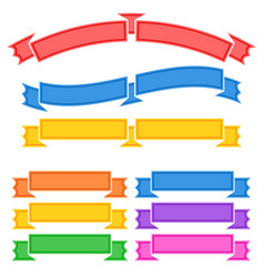 Set of colored isolated banner ribbons on white vector