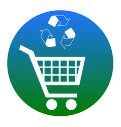shopping cart icon with a recycle sign vector image