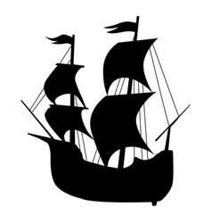 Silhouette old sailing ship vector
