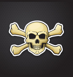 Sticker skull jolly roger with crossbones behind vector