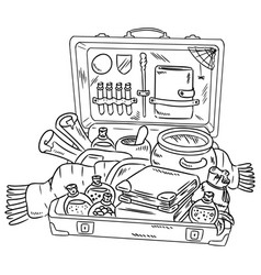 Suitcase with witchcraft items packing to magic vector
