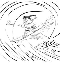 Surfer frog selfie wave vector image