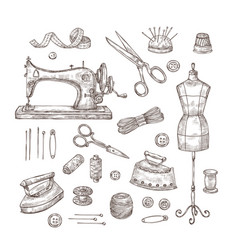 tailor shop sketch sewing tools materials vintage vector image