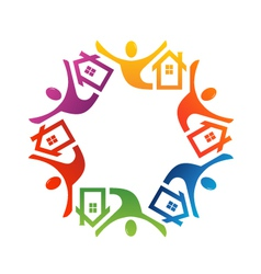 Teamwork people house vector image