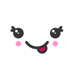 Tease with tongue kawaii cute emotion face vector