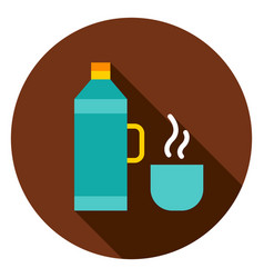 Thermos bottle circle icon vector