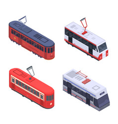 tram car icon set isometric style vector image