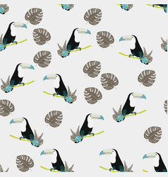 tropical seamless pattern with toucan flowers vector image