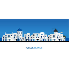 Typical greek island houses blue sky and sea vector
