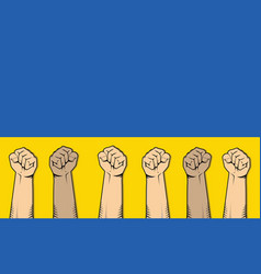 Ukraine protest with single hand vector
