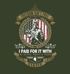 veteran soldier green navy vector image
