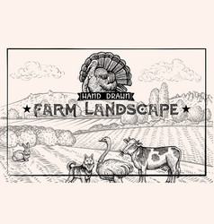 Vintage barn landscape and farm animals ostrich vector