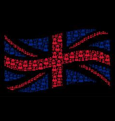 Waving british flag pattern of spy items vector